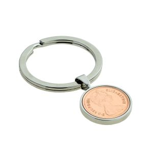 Silver Keyring with Polished Half Penny Piece (engravable)