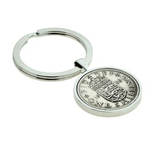 Silver Keyring with Polished Shilling Coin (engravable)